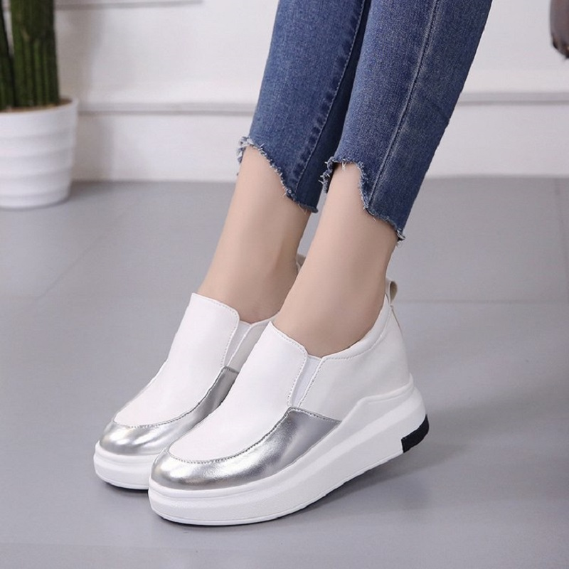Automne Glissement White Casual Sneakers Mocassins Talons Chaussures Femmes green 2018 black Creepers Appartements Plate Sur En forme Cuir EqwZgAP