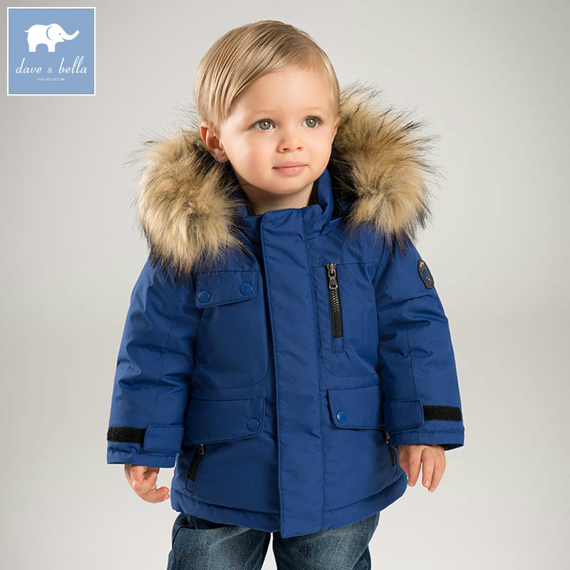 DB6328-B dave bella winter baby boys down jacket children 90% white duck down padded coat kids hooded outerwear