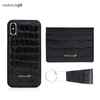 Horologii Luxury gift set card phone holder cover fitted case for Iphone X crocodile pattern leather dropship service