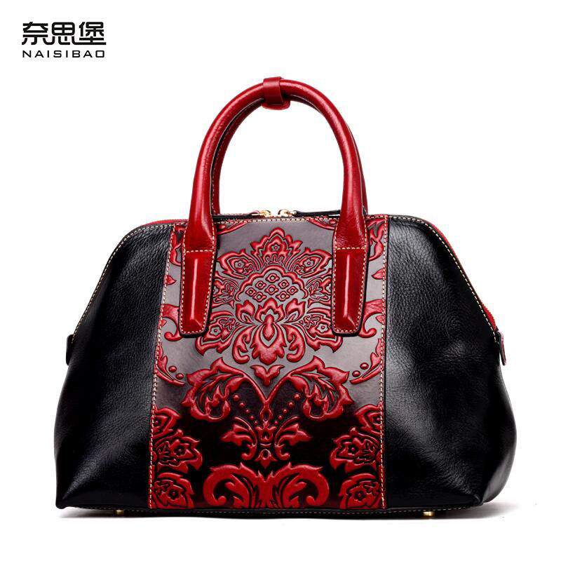 NAISIBAO New women genuine leather bag brand Classic Ladies embossed quality cowhide splicin women leather handbags shoulder bag 247 classic leather