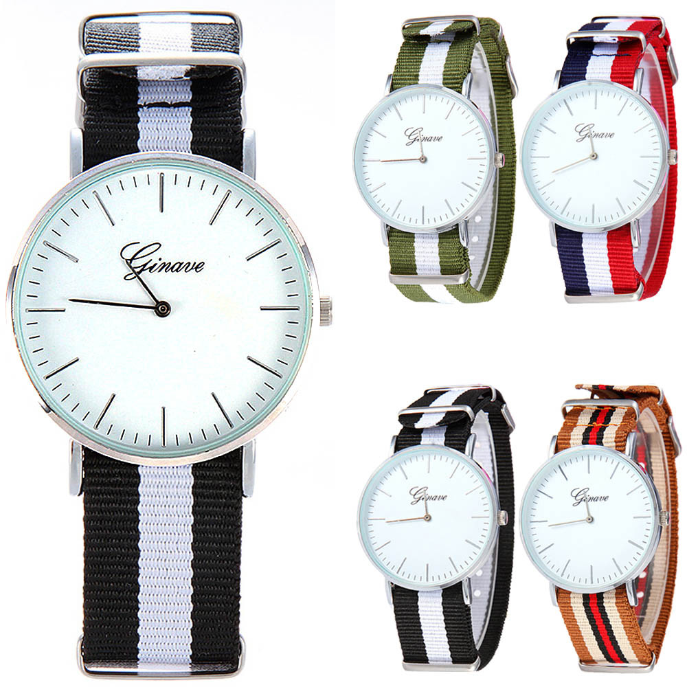 Simple Fashion Design Geneva Brand Casual Watch Woman Men Thin Dial Siamese Colorful Canvas Band Analog Quartz Wrist Watch#77