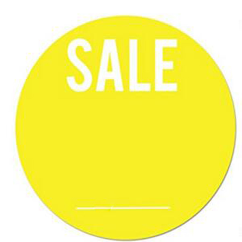 "Yellow Sale Labels With Write Your Own Price 1.5"" Round 500 Total Stickers Per Roll"