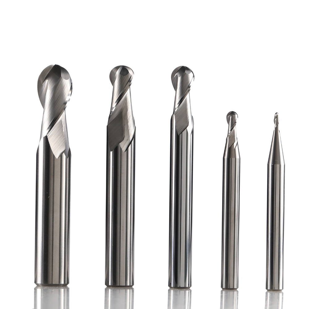 ZCC AL-2B Solid Tungsten Carbide 2 Flute Aluminium Ball Nose End Mill Cnc Milling Cutter Cutting Tools For  Machining Profile