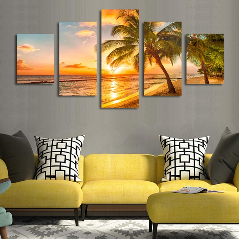 5pcs Print poster canvas Wall Art Sunrise sea coconut trees art oil ...