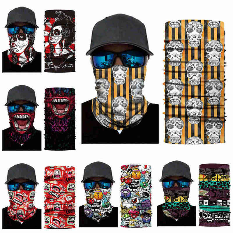 3D Skeleton Skull Seamless Magic Neck Gaiter Face Mask Shield Fishing  Cycling Hiking Bike Bandana Headband a6704325043