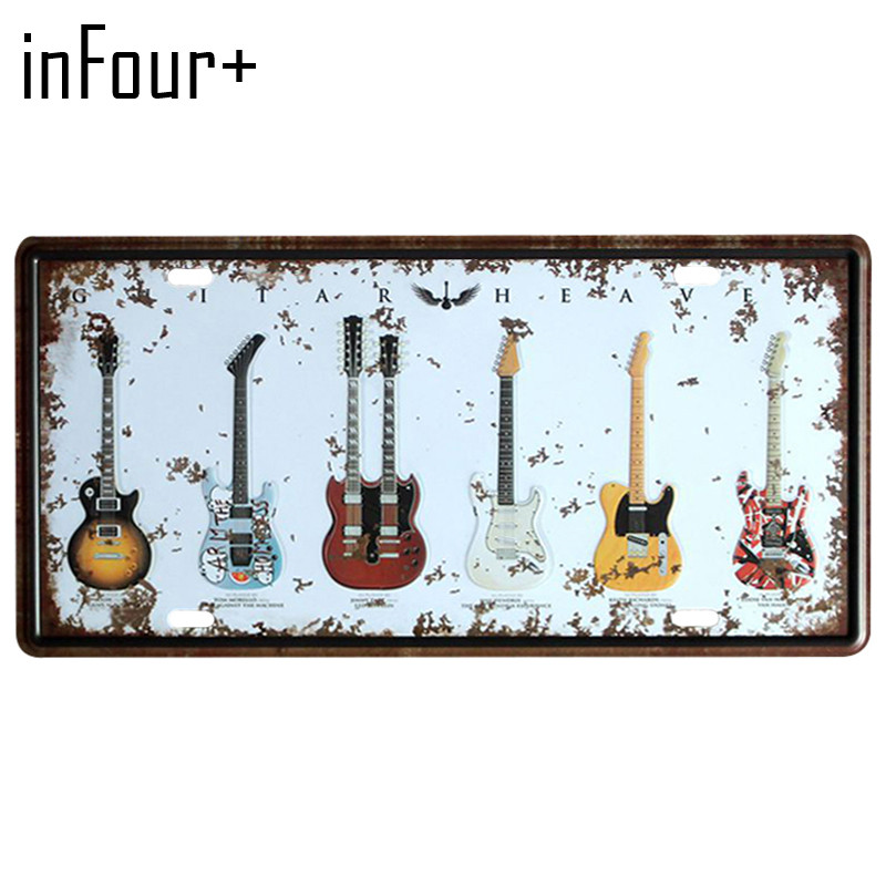 [inFour+] Six Guitars Plate Metal Plate Car Number Tin Sign Bar Pub Cafe Home Decor Metal Sign Garage Painting Plaques Sign