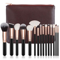 Makeup Brushes with Leather Cases 15 pcs/Set