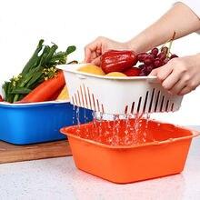 2-en-1 de Colador De Plástico Cesta de Frutas de Frutas Cesta de Verduras con Integrado Con Colador Colador Vegetal Conjunto