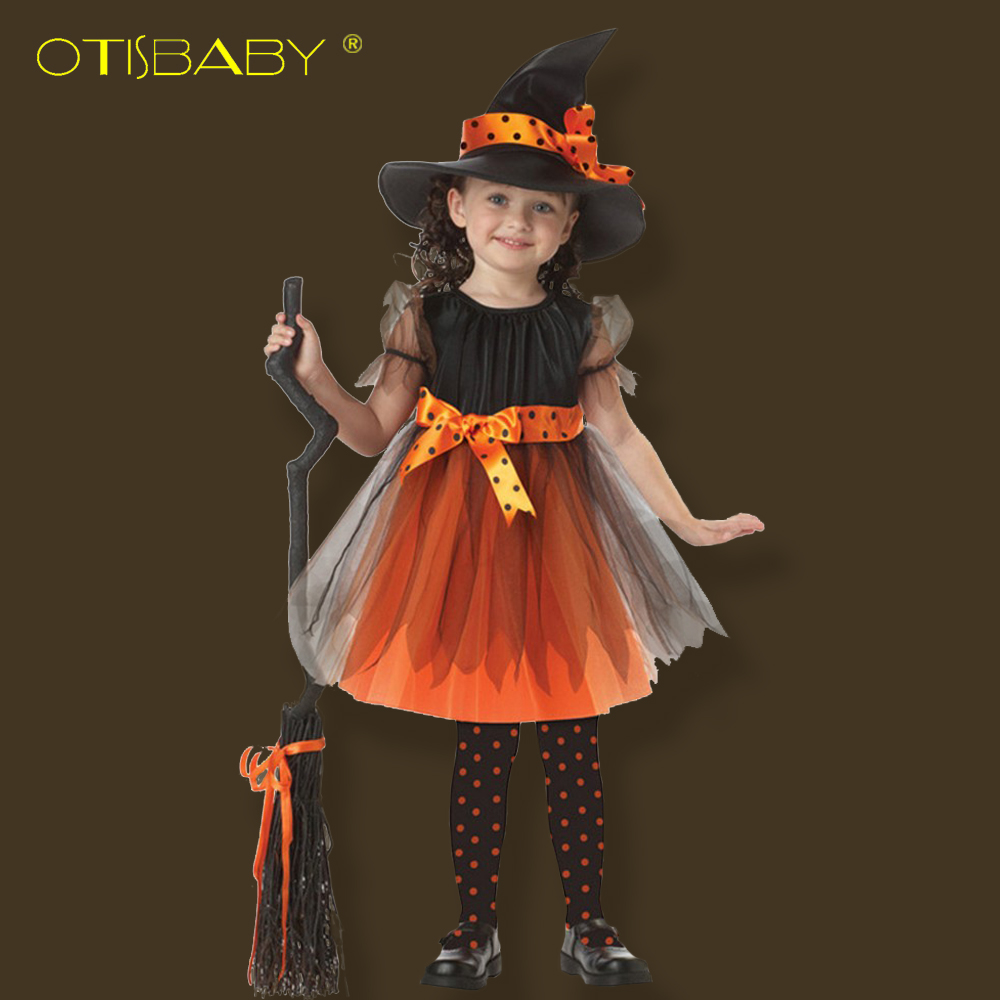 3PCS Fantasy Girls Halloween Costume Coaplay Witch Dress Children Clothing Kids Dress for Girls Hat Baby Girl Decoration Vestido галина щербакова метка лилит