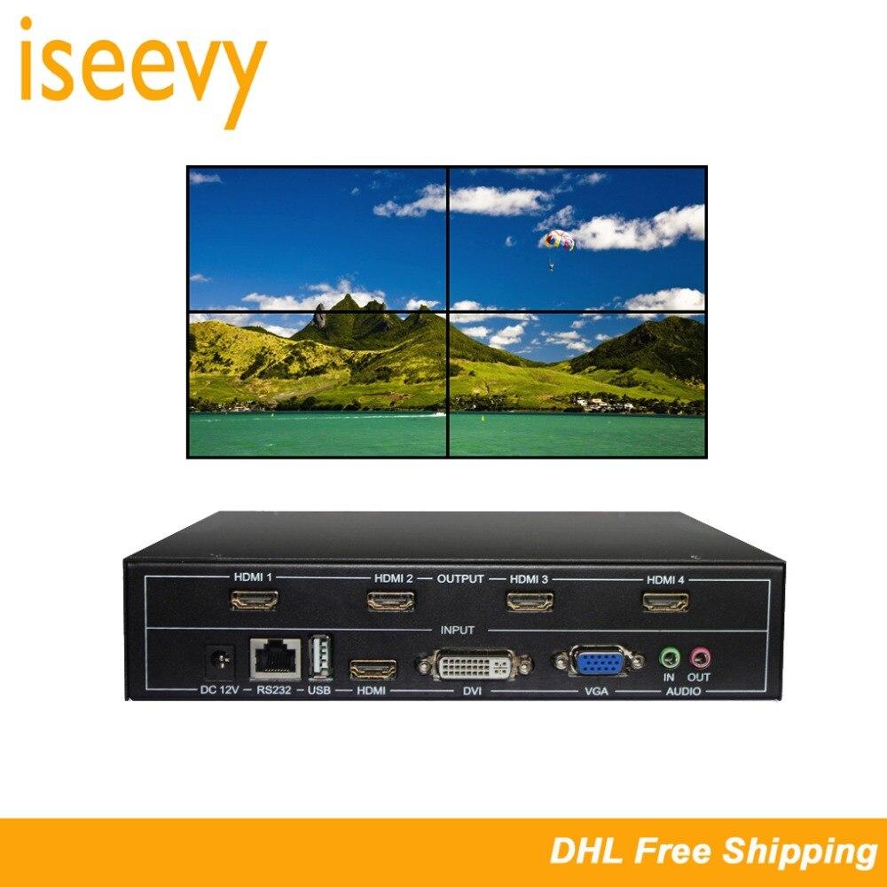 ISEEVY contrôleur mural vidéo 4 canaux 2x2 HDMI DVI VGA USB processeur vidéo avec contrôle RS232 pour épissage 4 TV