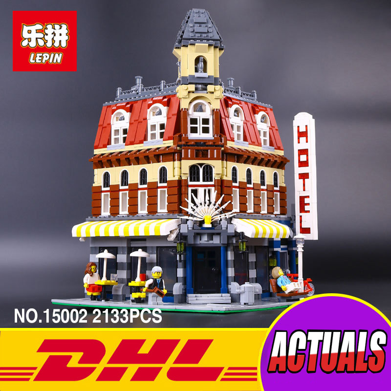 2017 New 2133Pcs LEPIN 15002 Creators Cafe Corner Model Building Kits Blocks Kid Brick Toy Gift Compatible With 10182 lepin 02012 city deepwater exploration vessel 60095 building blocks policeman toys children compatible with lego gift kid sets