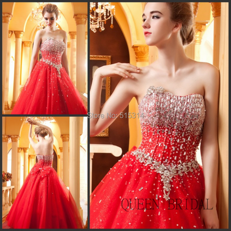 2017 Princess Top Designer Chinese Plus Size Red Wedding