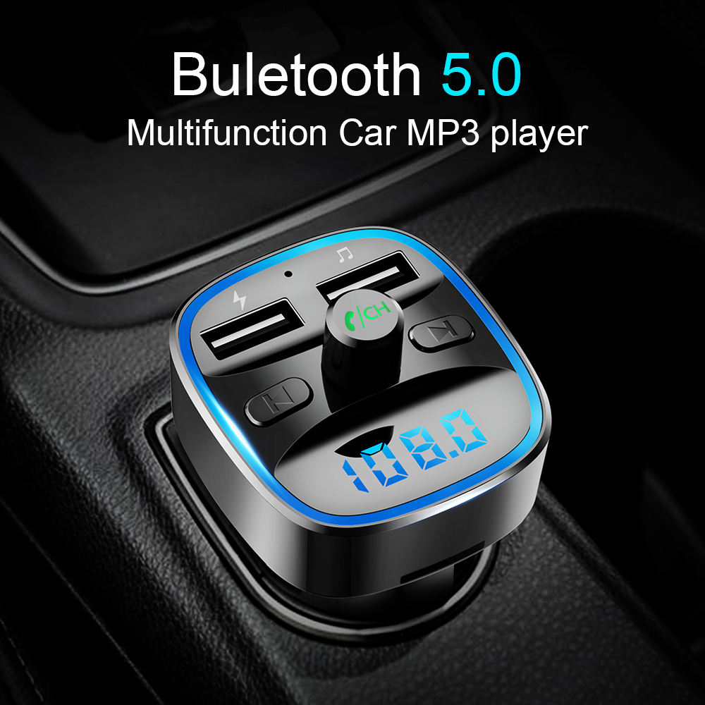 Cden Automobile Mp3 Bluetooth5.zero Fm Transmitter Automobile Charger U Disk Lossless Music Playback Bluetooth Fingers-Free Calling Voltage Show