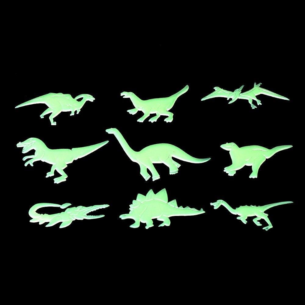 1 juego 9 Uds. Que brillan en la oscuridad dinosaurios juguetes pegatinas Calcomanía para techo bebé chico habitación Oenux Original salvaje gran mamut elefante simulación animales Mammut figuras de acción modelo figurita PVC colección juguetes niños regalo