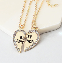 two halves heart Fashion Gold Heart Love Crystal Necklaces For Couples Korean Ladies Fashion Trendy Paired Pendants Model Bijoux