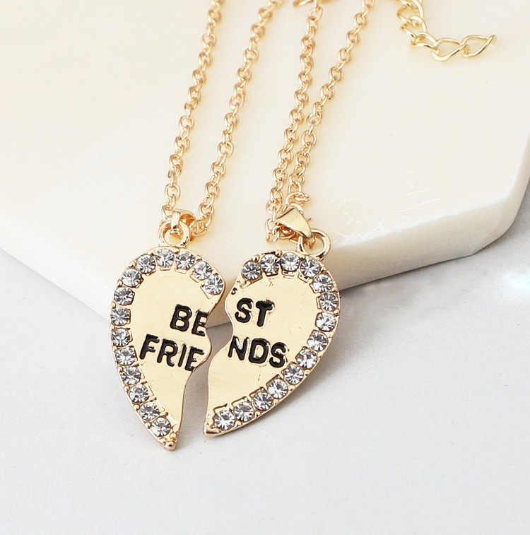 Dos mitades corazón moda oro Corazón de amor cristal collares para parejas señoras coreanas moda emparejado de moda colgantes modelo Bijoux