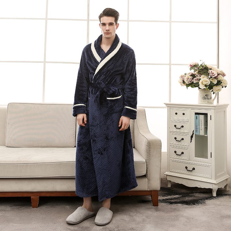 2018 Winter Robe For Men Winter Solid Color Bathrobes For Men Flannel Mens Robes Long Coral Fleece Dressing Gown 1298