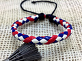 2pcs/lot Adjustable colorful red white and blue round braid leather rope bracelet gifts for young new product