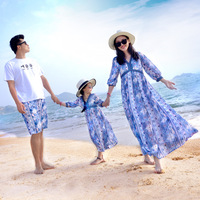 Dresses Mommy and Me Summer Family Outfit Long Sleeve Mother and Daughter Dress Daddys Son T shirt Set 2018 Family Beach Dress