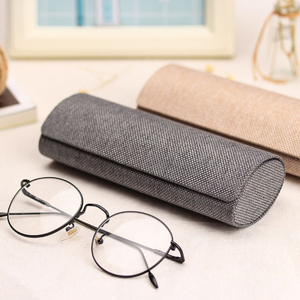 1PC Retro Oval Glasses Box Sunglasses Linen Folding Eyewear Case Optical Handmade Storage Glasses Case