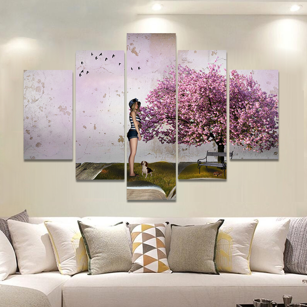 Unframed Canvas Painting Blooming Peach Meadow Girl And Puppy Picture Prints Wall Picture For Living Room Wall Art Decoration