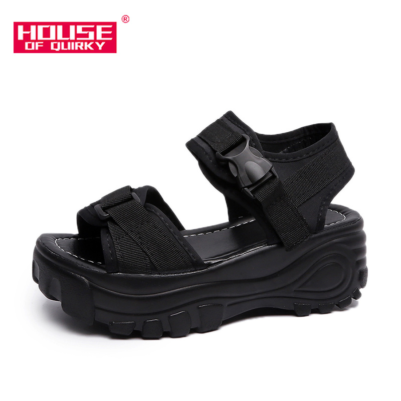 Waterproof Platform Sexy Hollow Out Sandals Casual Wedge Flat Shoes Outdoor Open-toed Shoes Women Sports Beach Summer Shoes 2019