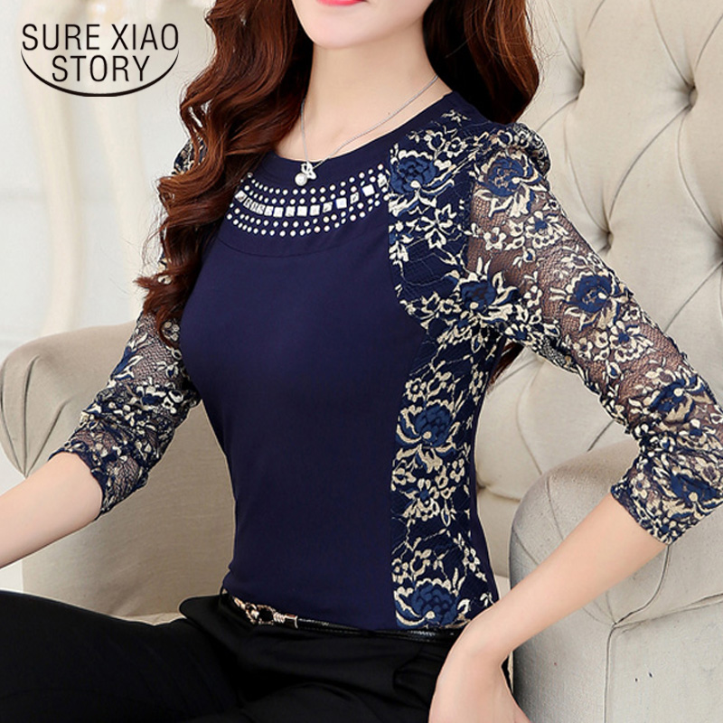 2018 spring new Slim Patchwork ladies Plus size lace   blouse     shirt   fashion long sleeve Lace women Tops Women clothing 901G 40