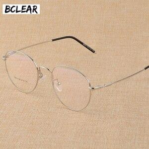 Image 1 - BCLEAR חדש זיכרון טיטניום סגסוגת רטרו Eyelasses מסגרת אישיות יוניסקס קוצר ראיה מסגרת ספרותי שטוח מחזה משקפיים גברים נשים