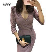Wsfs אביב תחרת שמלות Fromal משרד Vneck סגול בציר Bodycon תחבושת נשים שמלה אלגנטי סקסי המפלגה עיפרון Midi Dress