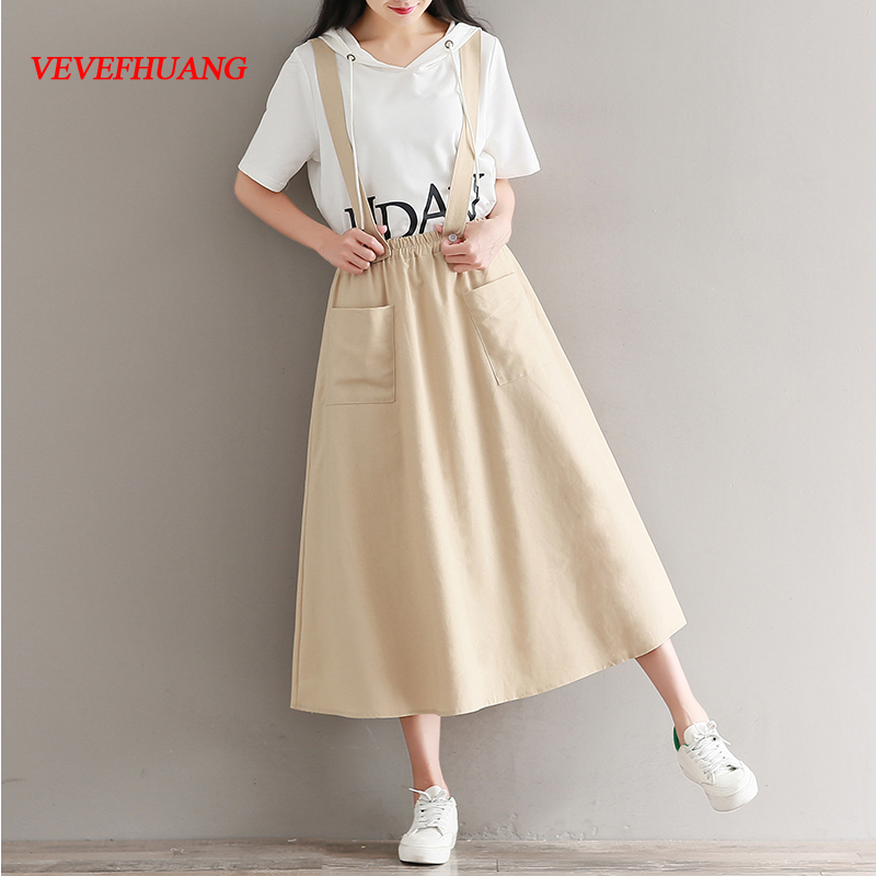 Mori Girl Literary Long Skirt 2018 New Summer Women Detachable Straps Cotton and Linen Skirts Pockets Apricot Navy Blue Clothes