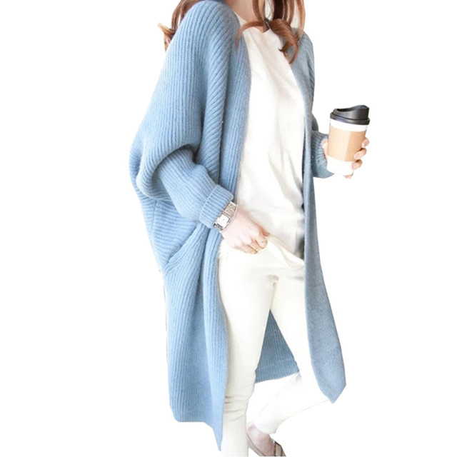 10 Colors Batwing Sleeve long cardigan sweater Women knitted loose ...