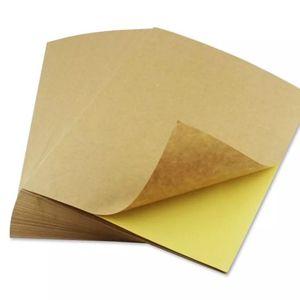 Image 5 - 50 גיליונות A4 חום קראפט נייר מדבקות עצמי דבק הזרקת דיו לייזר A4 הדפסת תוויות