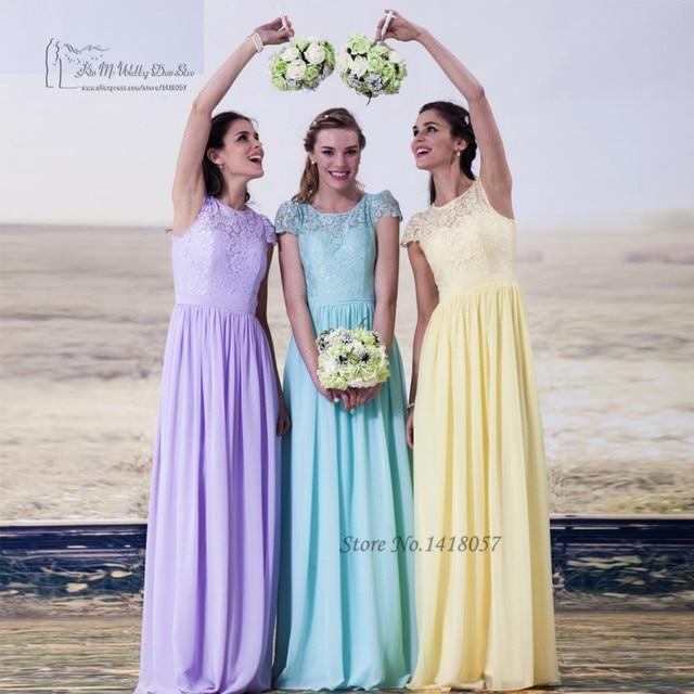 9b93df293a8 Colorful Lavender Sage Yellow Lace Bridesmaid Dress Cap Sleeve Long Wedding  Party Dresses Gowns Vestido de