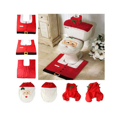 Fancy Santa Toilet Seat Cover And Rug Bathroom Set Contour Rug Christmas Deco