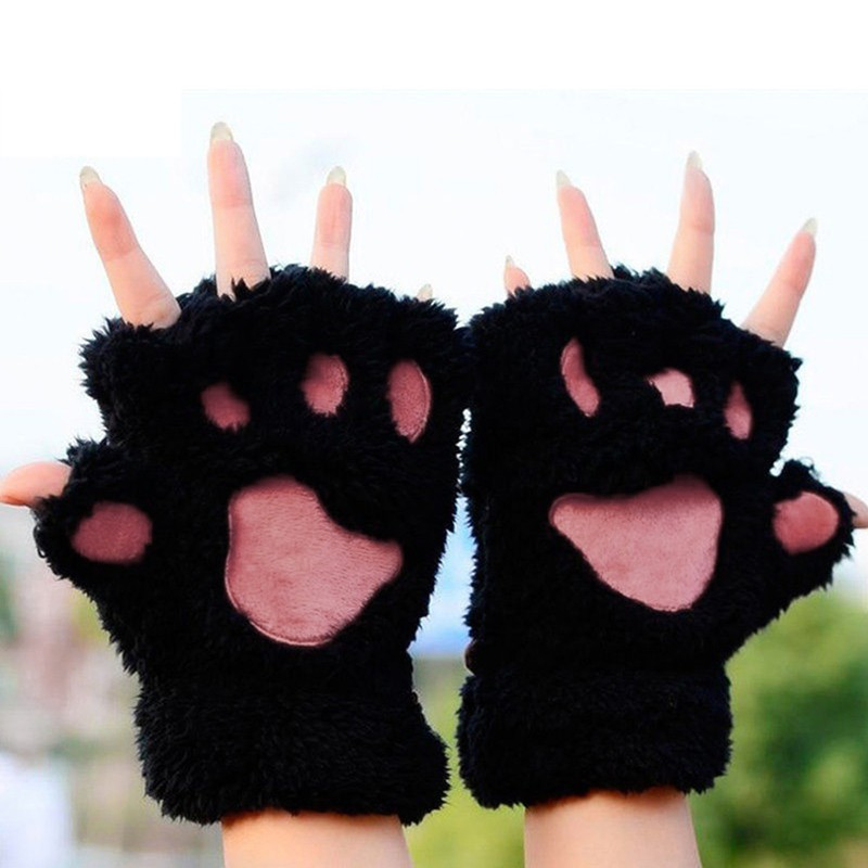 Winter Women Gloves Cute Fluffy Bear Plush Paw Glove Girl Novelty Half Covered Mittens Glove