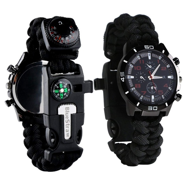 Survival Watch with Night Vision Waterproof Paracord Knife Compass Thermometer Whistle all in one