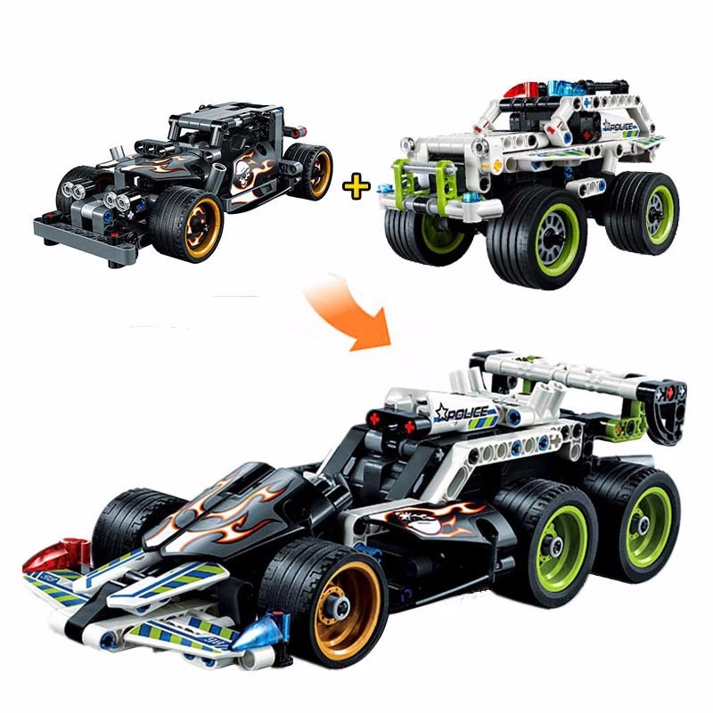 2016 Decool 3418 & 3417 Technic series POLICE INTERCEPTOR Getaway Racer Building Block Educational Car Model Bricks Toy Kids