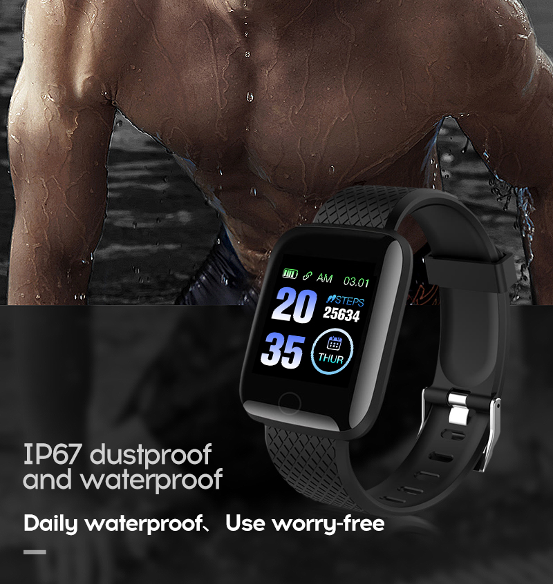 LYKRY 116 plus Smart Bracelet Fitness Tracker Heart Rate Blood Pressure Monitor Smart Band IP67 Waterproof Sports For Android IOS+Box (13)