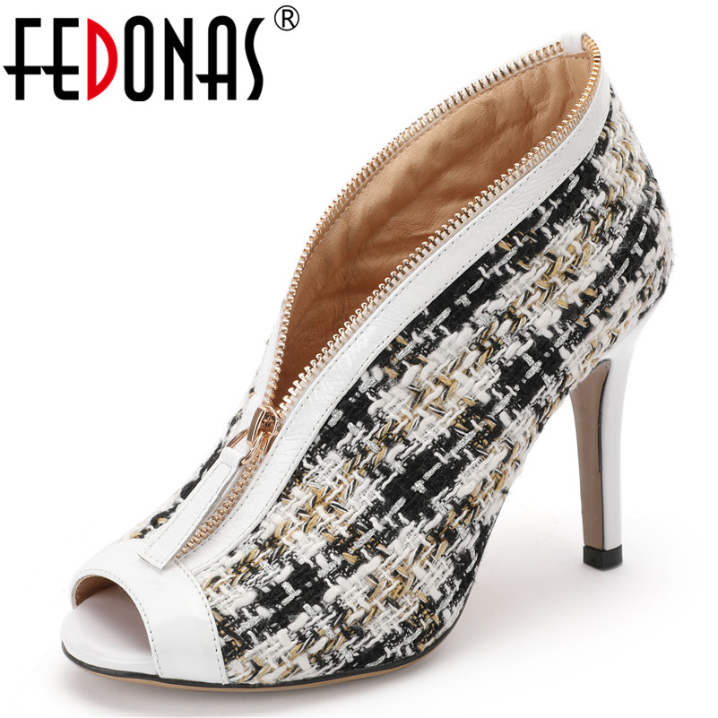 Clásico Con De Noche Diseño Fiesta Zapatos Las Bombas Nuevo Toe Mujer Verano Fedonas Mujeres blanco Traje 2019 Club Cremallera Primavera Peep Tweed Negro Ppgnq7tw