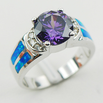 Purple Crystal Zircon Blue Fire Opal 925 Sterling Silver Ring Size 6 7 8 9 10 R1177 Fashion Wholesale Jewelry Free Shipping