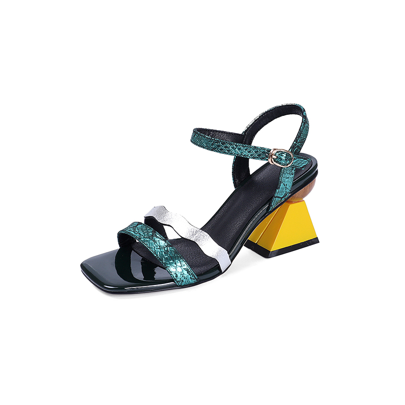 Rxemzg elegant women strange heels summer sandals genuine leather shoes woman open toe buckle strap ladies sandals blue green-in High Heels from Shoes    2