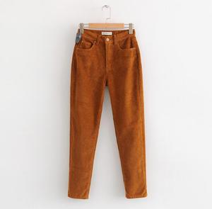 Image 2 - Vintage Macaron color Corduroy Pants Autumn Woman Mid Waist Ankle Length Loose Harem Pants Trousers Femme Casual Long Pants