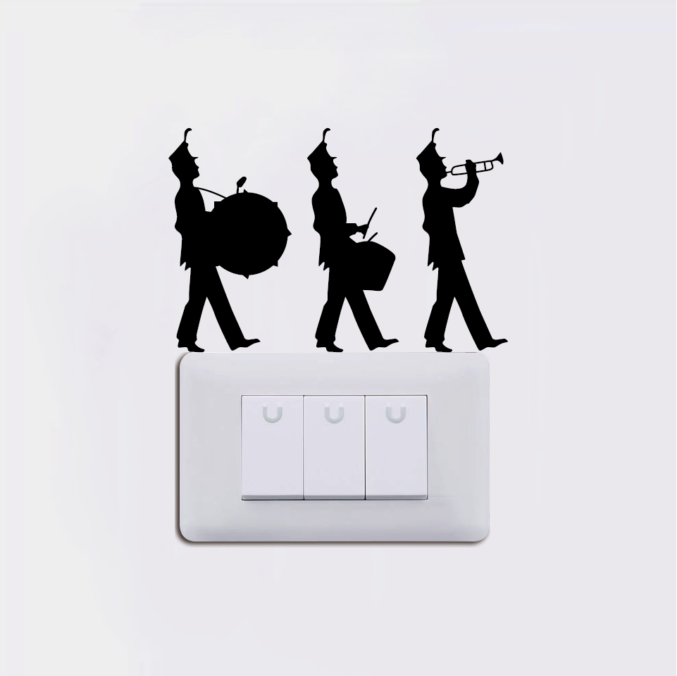 Kg 237 Marching Band Switch Sticker Three Musician Wall Sticker Music Instruments Decor Home Wallpaper