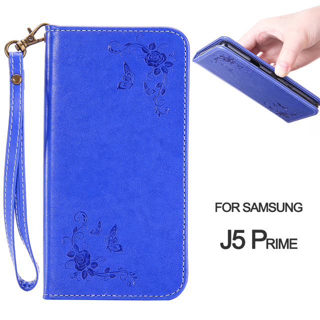 Wallet Case For J5 Prime/On5 2016 Rose Flower Butterfly Flip Phone Case For Samsung Galaxy G5700