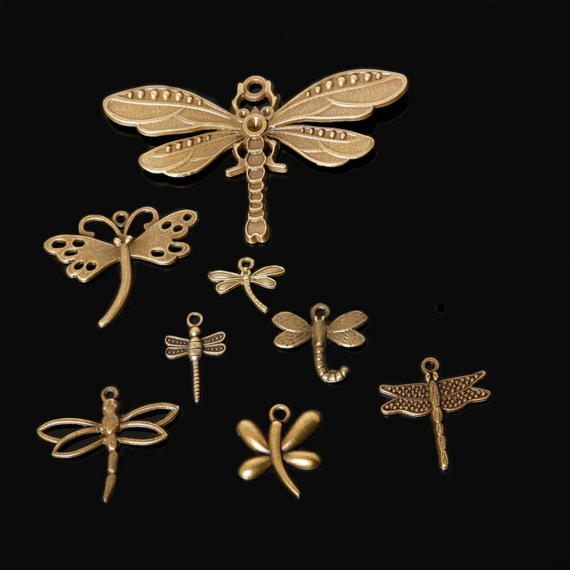 High Quality Different Size 10-140 pcsbag Zinc Alloy Antique Bronze Plated Dragonfly Charm Pendants For DIY Jewelry Finding