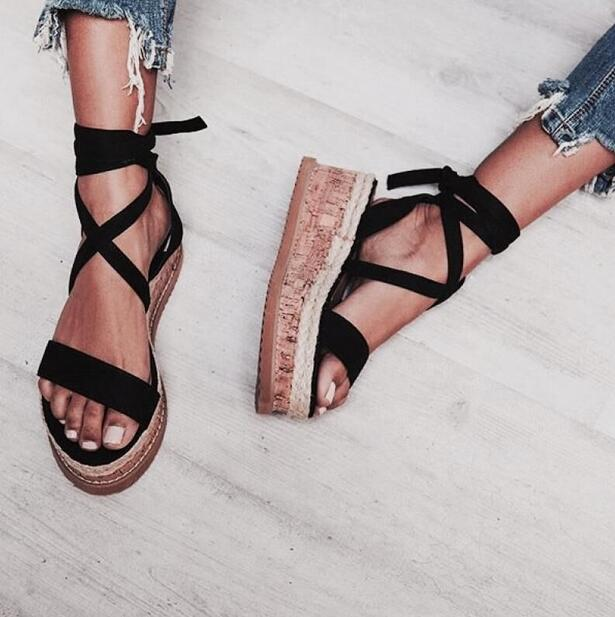 Summer Black Wedge Sandals Women Espadrilles Open Toe Gladiator Sandals Women Casual Lace Up Women Flat Platform Sandals