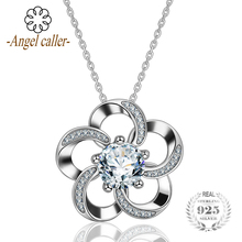 Angel Caller Trendy 925 Sterling Silver Pendant 'Endless Love' Flower Pendant Necklace Fine Jewelry CZ charms for women CYD079