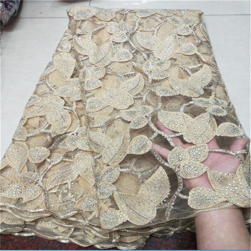 Prix de gros 5 yards dentelle française tissu pierres africain dentelle tissu jolie tulle lacets pour fête/mariage de noël - 2