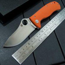 Hot Selling Orange C157 Flipper folding knives LionSpy G-10 Titanium Elmax Plain Edge C157GTIP Camping Pocket knife