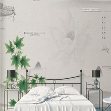 Chinese style ink lotus background wall